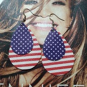 🇺🇸New🇺🇸 Vegan Leather I love the USA Earrings